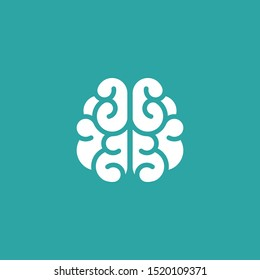 white brain icon. Intellect, phsychology, knowledge simple pictogram isolated on blue. flat vector illustration. Creative smart brain tech logo