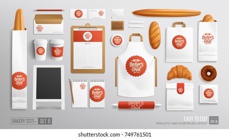 White Branding identity Mockup set for Bakery shop, Cafe. Corporate style Bakery food package mockup. Realistic MockUp set of logo, white uniform, street menu advertising board, cup, apron, paper bag