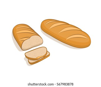White bread, loaf, sliced on a white background. Vector illustration, bakery products made in cartoon style by hand.