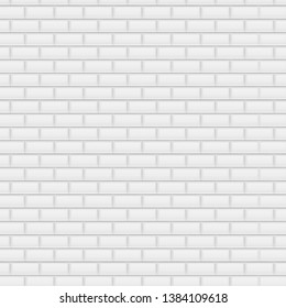 White Brick Background, Vector Illustration