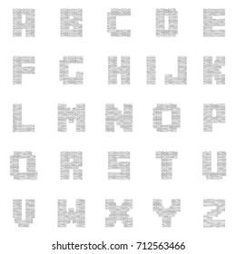 White Brick Letters. Vector Font, Typeface, Alphabet.