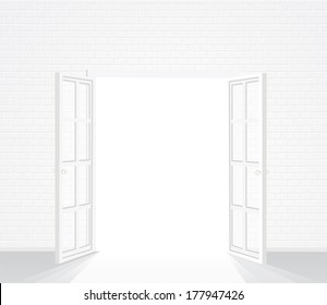 white brick room with opened french window