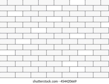 White brick wall background. Vector seamless pattern