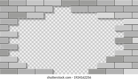 White brick wall breaking through with hole. 3D vector illustration on transparent background.