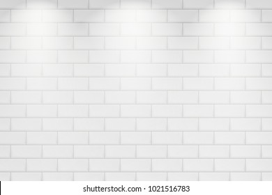 White brick wall with light elements