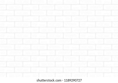 White brick wall pattern and texture for background. Vector illustration.