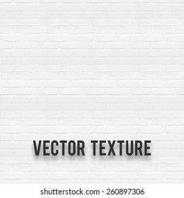 White brick wall seamless texture. Vector illustration EPS 10.