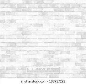 White brick wall seamless vector pattern
