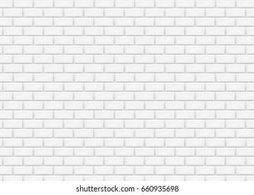 White brick wall in subway tile pattern. Vector illustration. Eps 10.