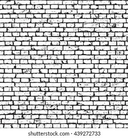 White brick wall texture, grunge background. Vector seamless pattern
