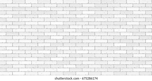 White brick wall texture seamless vector illustration