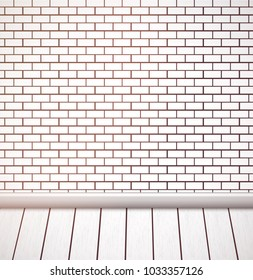 White brick wall and wooden floor. Empty vector interior.