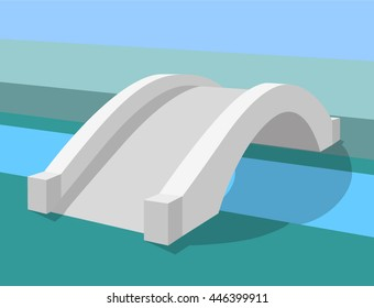 white bridge stone road in park perspective outline vector illustration with shadows