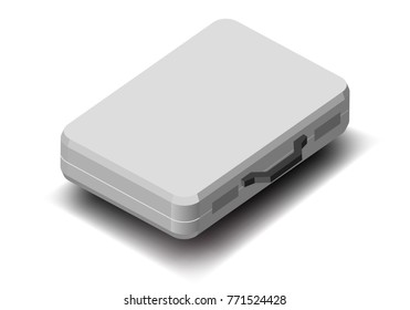 white briefcase closed, isometric view