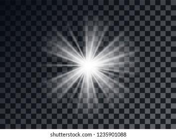 White bright light, glare. Decorative element overlay glitter, explosion, star Shine. Vector design decoration of new year, Christmas. Transparent background.
