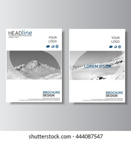 White brochure design, annual report cover. Leaflet layout. Flyer design. Magazine cover, poster template with mountain. Presentation template. Vector illustration, eps 10