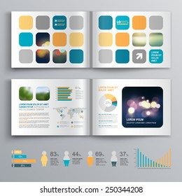 White brochure template design with blue and orange geometric shapes. Cover layout and infographics