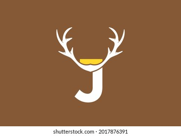 White brown color of J initial letter with deer horn design