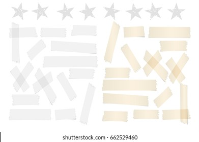 White and brown different size adhesive, sticky tape, paper pieces with stars.