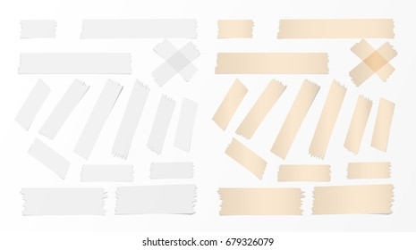 White and brown different size adhesive, sticky tape, paper pieces.