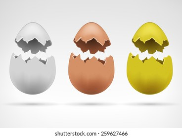 white brown and golden broken separated eggshell collection easter and agriculture theme vector illustration