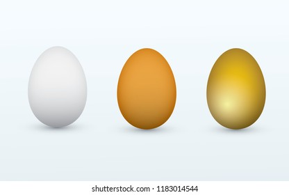 White, brown and golden healthy organic eggs on light background vector illustration