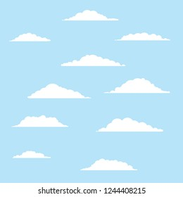 White bubbles cloud. Blue sky and good summer weather. Cartoon flat illustration
