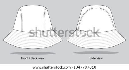 white bucket hat template stock vector royalty free 1047797818
