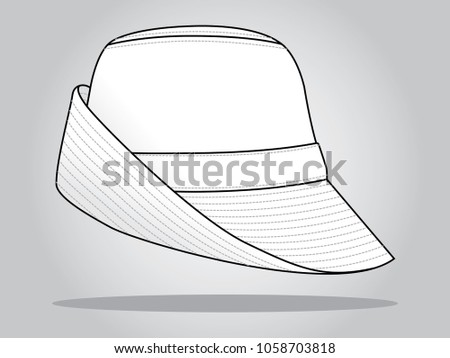 white bucket hat template stock vector royalty free 1058703818