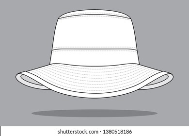 White Bucket Hat Vector For Template.