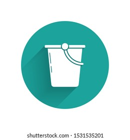 White Bucket icon isolated with long shadow. Green circle button. Vector Illustration