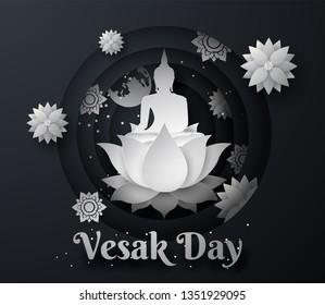 white buddha on lotus Happy vesak day background.