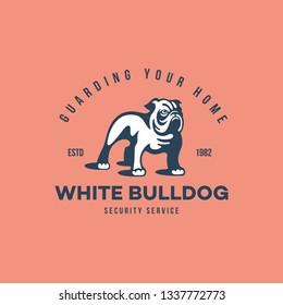 White bulldog logo design template. Vector illustration.