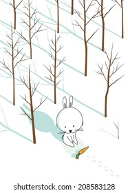 White bunny with carrot in forest.