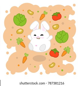 White bunny jumping in cloud of vegetables such as carrots, salad, tomatoes and potatoes (kawaii illustration)