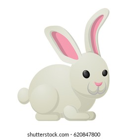 White bunny with pink ears isolated on background. Nice sweetness in form of holiday mascot. Festive emblem of hare animal in cartoon style, fluffy rabbit