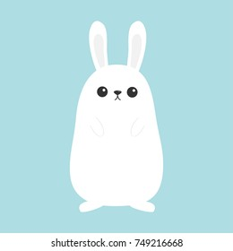 White bunny rabbit. Funny head face. Big ears. Cute kawaii cartoon character. Baby greeting card template. Happy Easter sign symbol. Blue background. Flat design. Vector illustration