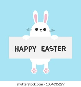 White Bunny Rabbit Hanging On Paper Board Template Happy Easter Paw Print Funny