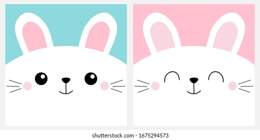 White bunny rabbit head face square icon set. Cute cartoon kawaii funny character. Pet baby print for notebook cover, greeting card. Moustaches. Happy Easter. Flat design. Blue background. Vector