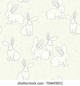 White bunny seamless pattern. Animal fashion print. Vector hand drawn illustration.