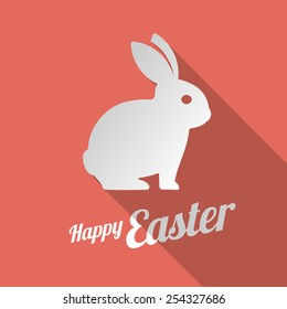 White bunny silhouette and Happy Easter sign. Vector illustration icon.