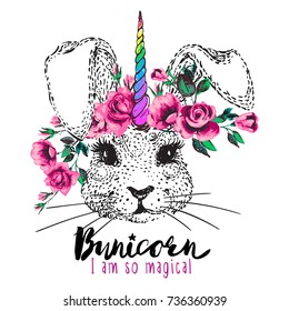 White bunny unicorn with rainbow horn and flower wreath vector illustration. Cute cartoon drawing embroidery in watercolor rock music style. Princess female fashion t-shirt design concept with slogan