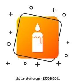 White Burning candle in candlestick icon isolated on white background. Cylindrical candle stick with burning flame. Orange square button. Vector Illustration