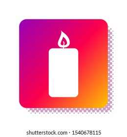 White Burning candle icon isolated on white background. Old fashioned lit candle. Cylindrical aromatic candle stick with burning flame. Square color button. Vector Illustration