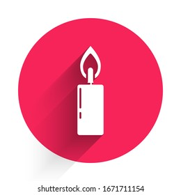 White Burning candle icon isolated with long shadow. Cylindrical candle stick with burning flame. Red circle button. Vector Illustration