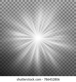 White burst glowing light explosion effect decoration with ray sparkles on transparent background. And also includes EPS 10 vector