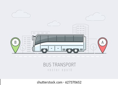 White bus vehicle traveling route with red and green location marker in the city . Vector illustration in line art drawing style