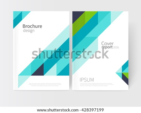 White business brochure/ leaflet, flyer, cover template. Abstract background blue and green diagonal lines. stock-vector EPS 10