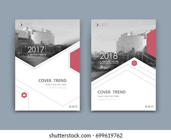 White business card mockup. A4 brochure cover design. Fancy info banner. Title sheet model set. Modern vector front page art. Urban city house texture. Red hexagon frame, logo icon. Ad flyer text font