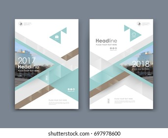 White business card style. A4 brochure cover design. Info banner board. Book, diary title sheet model set. Modern vector front page art. Urban city house texture. Blue figure frame icon. Ad flyer font